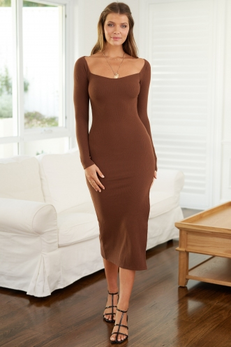 Swerve Dress Brown