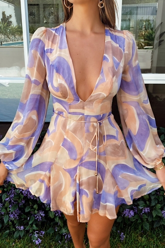 Pippy Dress Nude/Purple Print