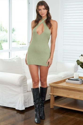 High And Low Dress Sage