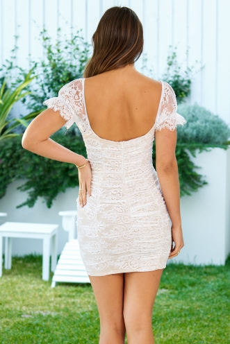 Afterparty Dress Beige/White