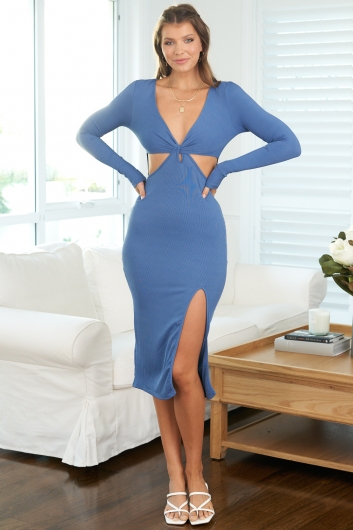 Your Own Way Dress Steel Blue