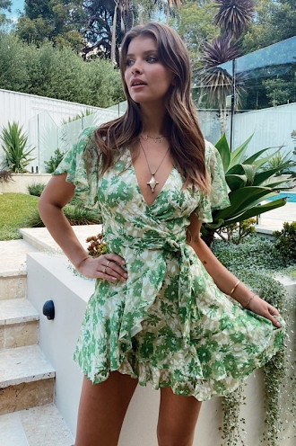 Fine Dining Dress Green Print