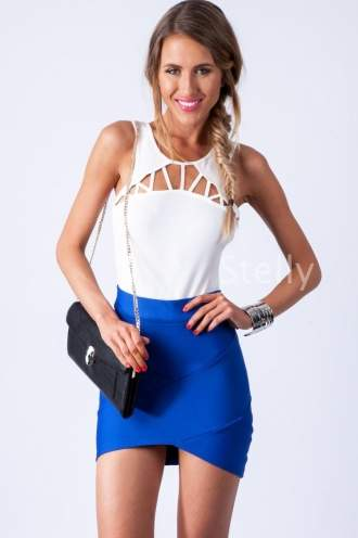 Honey Toasted Strawberry Skirt- Electric Blue