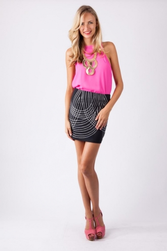 Nectarine Parfait Skirt-Black