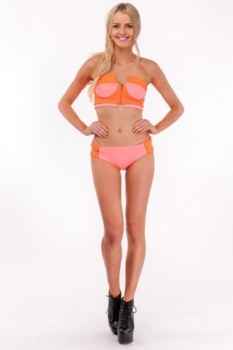 Orange Ladyfinger Bikini-Pink/Orange