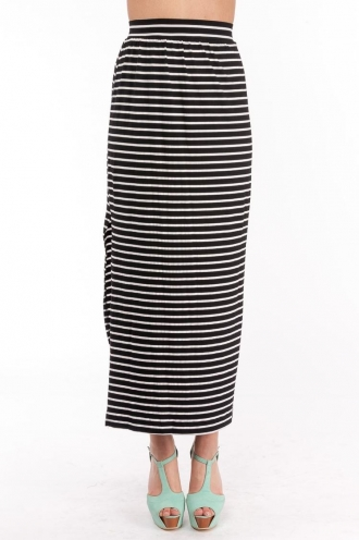 Chocolate Suger Cookies Skirt- Striped Black