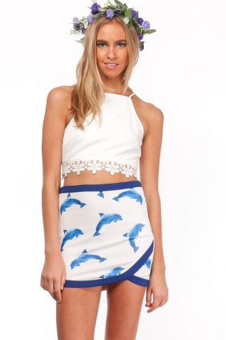 Apple Caramel Tart Skirt- Blue Dolphin