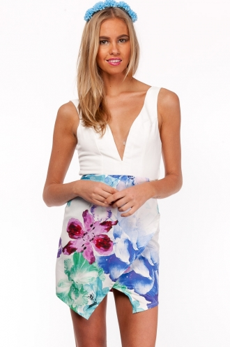 Gin And Tonic Ice Block Dress- Mix White SALE