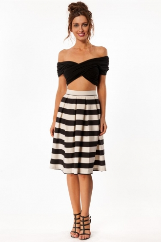 Vanilla Cream Cake Skirt- Thick Stripe