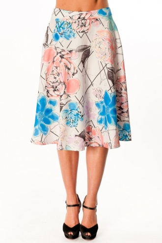 Apple Berry Scroll Skirt- Mix Print
