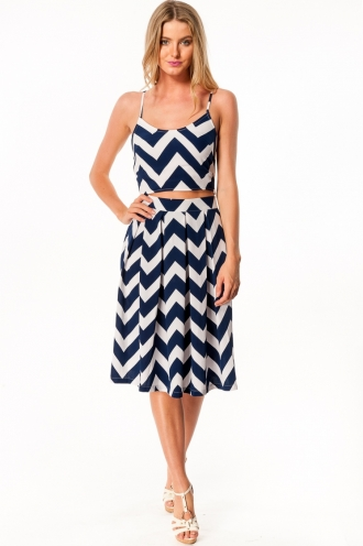 Rocky Road Cup Cake Skirt- White/navy