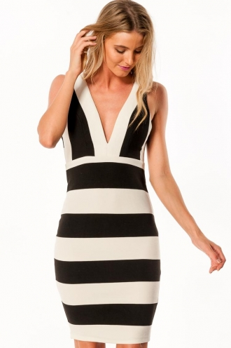 Hazelnut and Vanilla Womens Midi Dress - Black/White-SALE