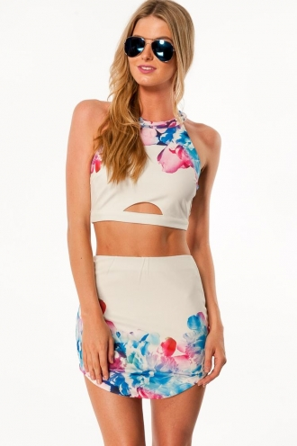 Rhubarb and apple crumble crop top - White / floral print
