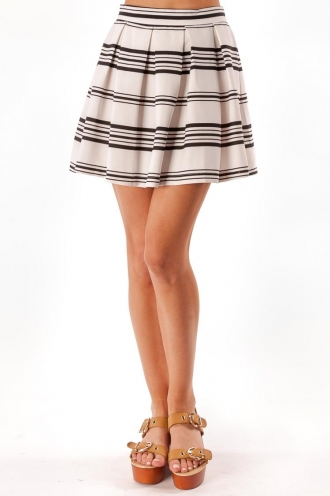 Maple Syrup Cupcake Skirt - White/Black Stripe-SALE