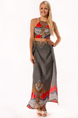 Tropical Toffe Skirt- Mix Red