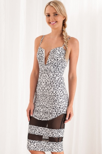 Chamomile Cookie Womens Bodycon Dress- Mix Black-SALE