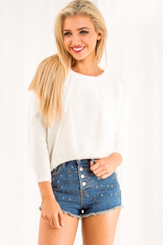 Apple and Almond Slice Womens Oversized - Cropped Jumper - Cream