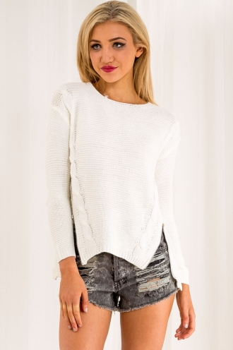 Baked Cheesecake Crumble Womens Knitted Jumper - Cream