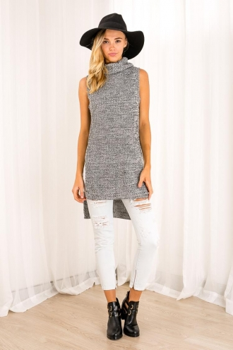 Mars Bar Muffin Womens Knitted Turtle Neck Top - Grey/Black
