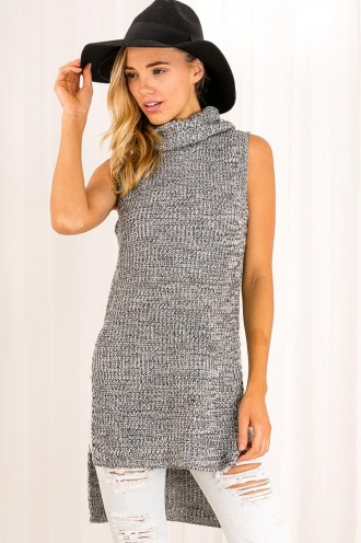 Mars Bar Muffin Womens Knitted Turtle Neck Top - Grey/Black-SALE