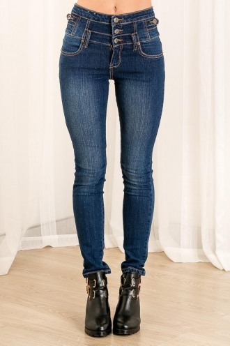 Berry Biscuit Womens High Waisted Skinny Leg Jeans - Blue Denim