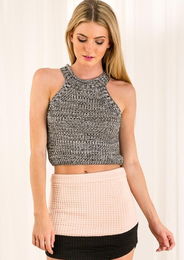 Peach Crumble Womens Knitted Top- Black/White