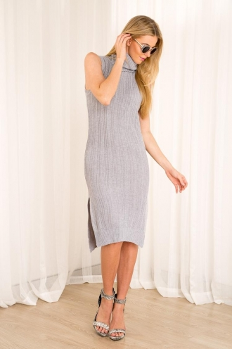 Strawberry Fudge Womens Knitted Dress - Grey-SALE