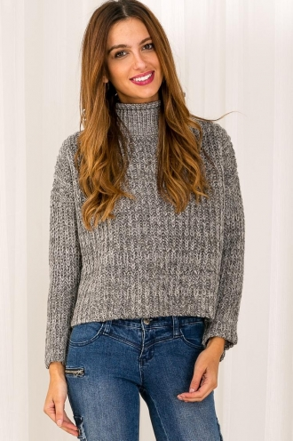 Choc Pudding Womens Chunky Knitted Jumper - Grey