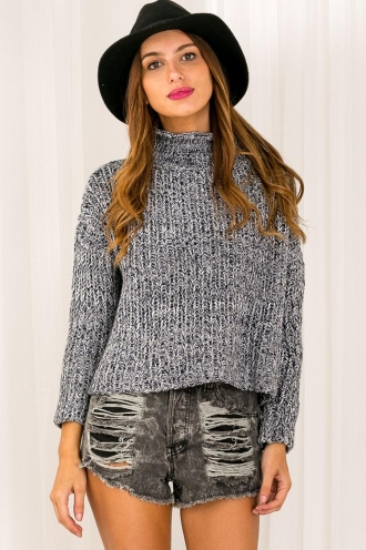 Choc Pudding Womens Chunky Knitted Jumper - Navy