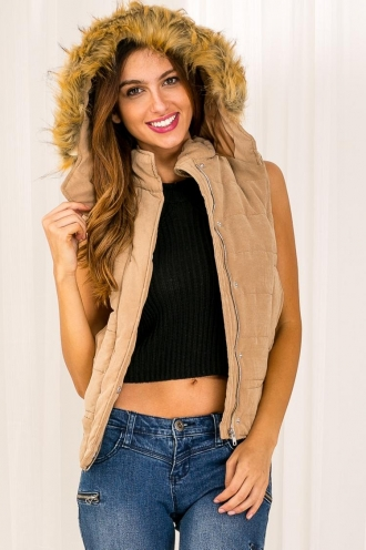 Cookie Crumble Womens Puffer Vest -Camel