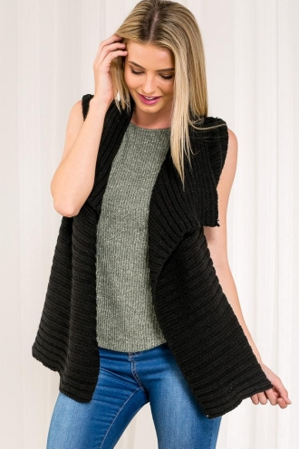 Coffee Crepe Womens Knitted Vest - Black