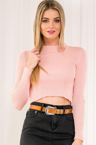 Creamy Latte Pudding Womens Long Sleeve Crop - Top - Peachy Pink