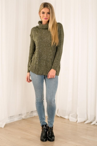 Pineapple Candy Womens Turtle Neck Jumper - Khaki
