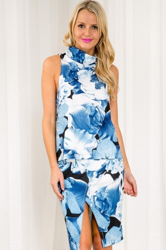 Blueberry Muffin Womens Turtle Neck Top - Blue Floral SALE