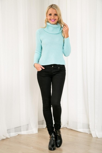 Crispy Waffles Womens Turtle Neck Jumper - Aqua