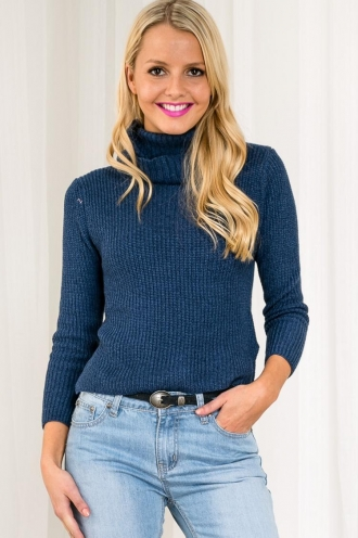 Crispy Waffles Womens Turtle Neck Jumper - Dusty Blue