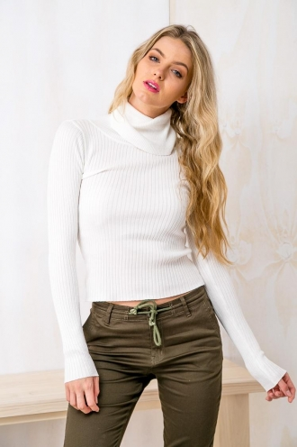 Cookie Butter Womens Fitted Turtle Neck Jumper - Cream