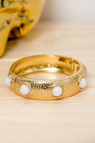 Jam Drop Biscuit Womens Bangle - Gold / White Stone -SALE