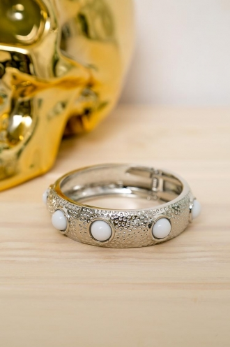 Jam Drop Biscuit Womens Bangle - Silver / White Stone