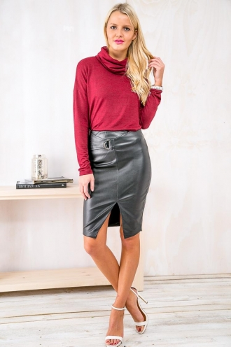 Cookies and Cream Cupcake Womens Leatherette Skirt- Black