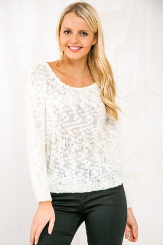 Coconut Cannoli Womens Knitted Jumper-Cream RESHOOT