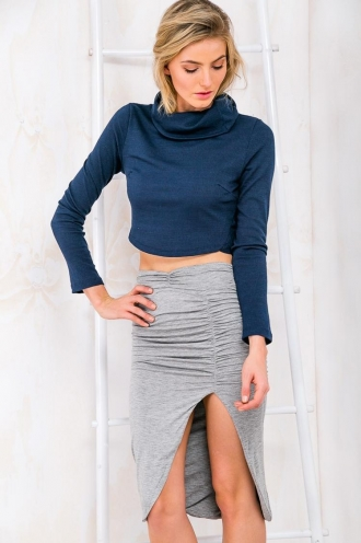 Strawberry Cheesecake Womens Turtle Neck Crop Top - Navy