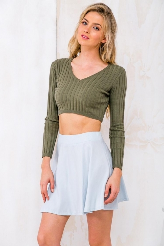 Caramel Cream Egg Womens LongSleeve Knit Crop - Top - Khaki RESHOOT