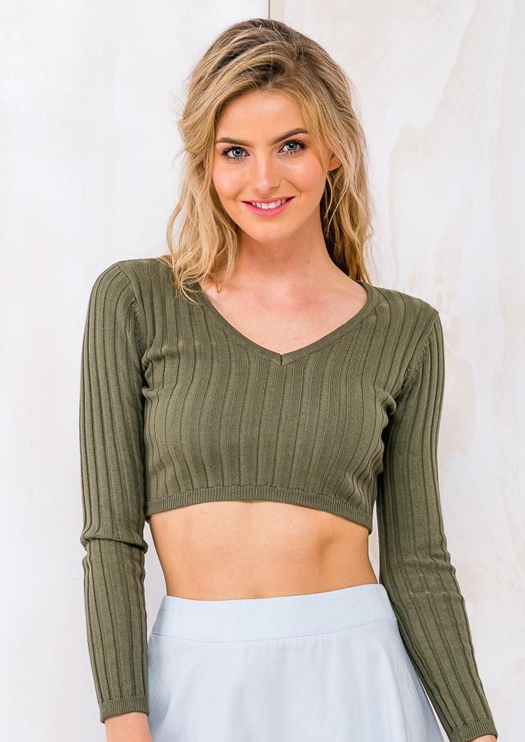 b0eceaa671d Caramel Cream Egg Womens LongSleeve Knit Crop - Top - Khaki RESHOOT.  Loading zoom