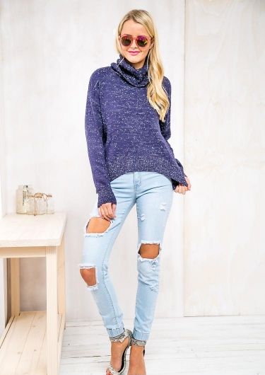 Strawberry Topping Womens Turtle Neck Jumper - Navy