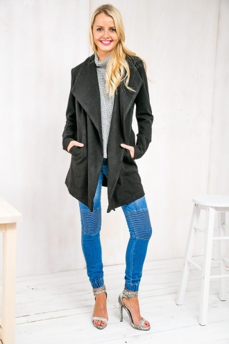 Pistachio Nougat Womens Coat - Black