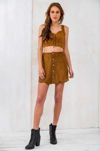 Candy Apples Womens Crop Top - Tan