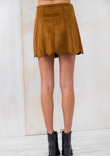 Banana Muffin Womens Suede Mini Skirt - Tan