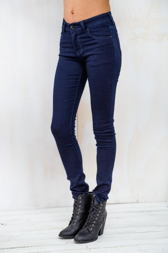 Almond Crumble Womens Skinny Leg Jeans- Navy SALE