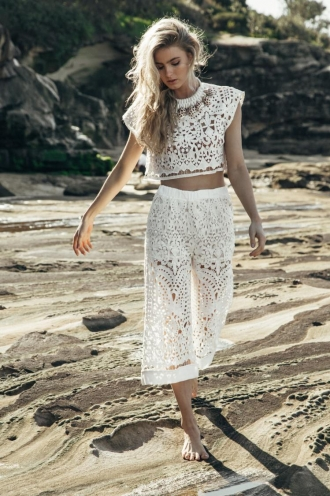 Caramel Coconut Shake Womens Lace Pants - White